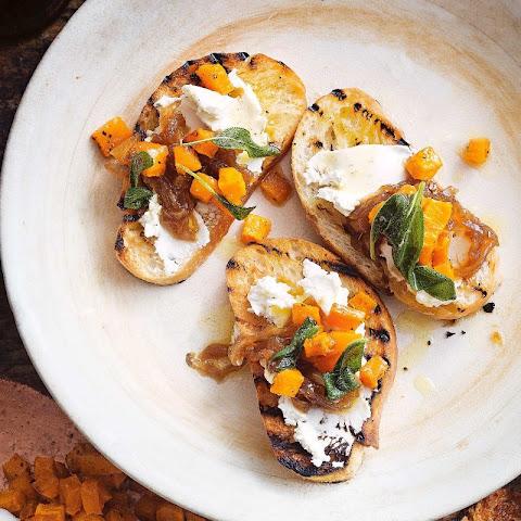 Pumpkin And Goat's Cheese Bruschetta With Sage Burnt Butter
