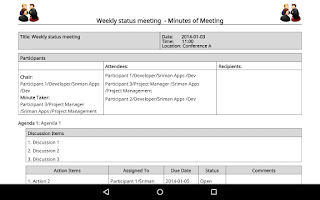 Screenshot of Meeting Minutes Trial