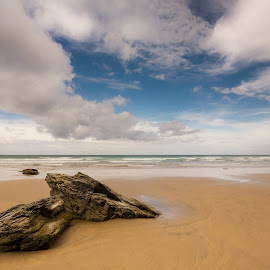 Beach by Rick McEvoy - Landscapes Beaches ( clouds, england, watergate bay, rick mcevoy, beach, rocks, cornwall )