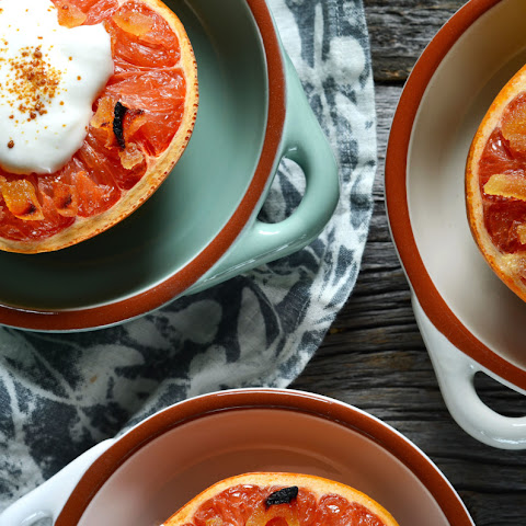 Broiled Grapefruit with Maple Cream & Ginger