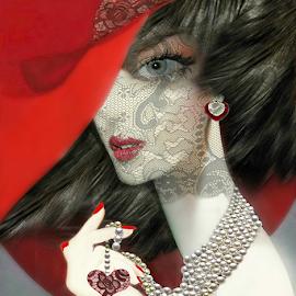LA BELLE EPOQUE TEARS by Carmen Velcic - Digital Art People ( face, heart, woman, art, veil, digital, tears )