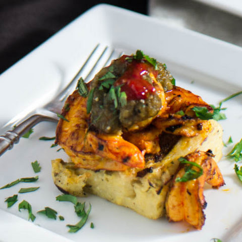 Grilled Green Chile Polenta and Citrus Shrimp