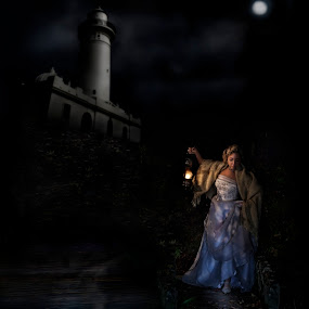 Bride is walking on the bridge at night by Kira Likhterova - Wedding Bride