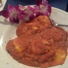 Ravioli  by Pam Kissner Sheedy - Food & Drink Plated Food ( lobster ravioli, italian  food, marinara sauce, ravioli, pasta )