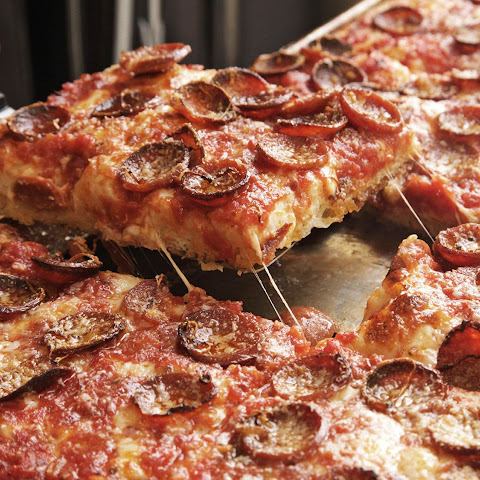 Sicilian Pizza With Pepperoni and Spicy Tomato Sauce