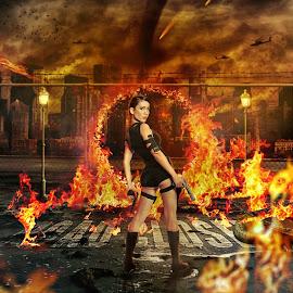 Karin by Charles Mawa - Digital Art People ( charlesmawa, digital art, gun, fire )