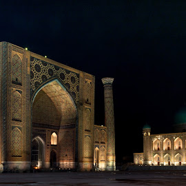 Registan Squire at Night (Samarkand, Uzbekistan) by Sergey Sibirtsev - Buildings & Architecture Public & Historical ( samarkand, registan, night, uzbekistan, squire )
