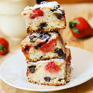 Strawberry Sour Cream Cake Bars with Chocolate Chips