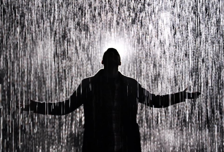 Rain Room by Gareth Beynon - People Portraits of Men ( water, silhouette, shower, wet, storm, rain, man )