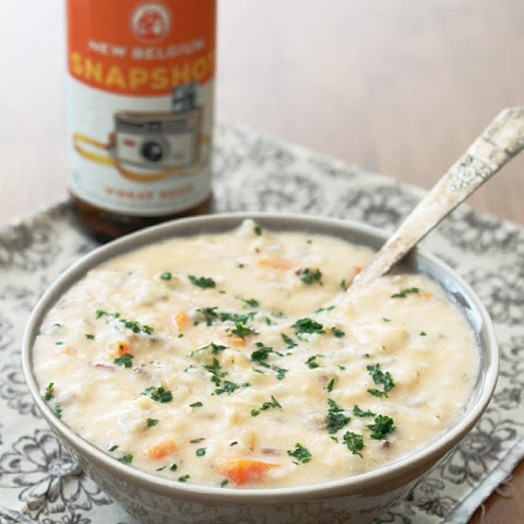 Slow Cooker Beer Cheese Chicken & Wild Rice Soup