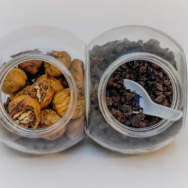 Dry Fruit by Eva Krejci - Food & Drink Fruits & Vegetables ( dry fruit, raisins, nuts, spoon, stuffed figs, glass jars )