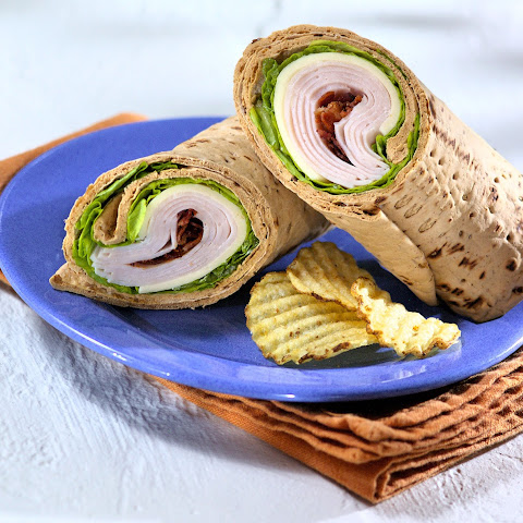 Spicy Smoked Turkey Club Flatbread Wrap