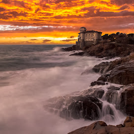 Sunset at Boccale Castle by Alessandro Genero - Landscapes Waterscapes ( clouds, water, waterscape, sunset, waves, castle, landscape, rocks )