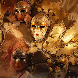 Masquerade masks by Vita Kalivoda - Artistic Objects Clothing & Accessories ( fashion, artistic, masks, gold, objects )