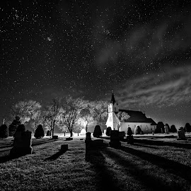 Stockholm Lutheran Church Black and White by Zach Hanson - Black & White Landscapes ( church, black and white, stars, cemetery, nebraska )