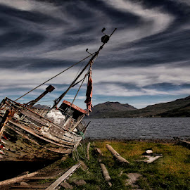Repose  by Þorsteinn H. Ingibergsson - Transportation Boats ( clouds, iceland, sky, nature, wreck, structor, sea, beach, boat, landscape, abandoned )