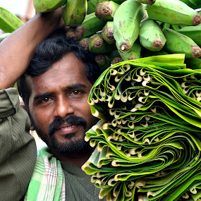 Working by Muthu Kumar - City,  Street & Park  Street Scenes ( banana leaves, carrying, weight, market, green, indian, leaves, working, man )