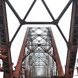 voirob old bridge..... by Ashif Hasan - Buildings & Architecture Bridges & Suspended Structures ( vanishing point, geometrical, bridges, red lines, structure, red, voirob bridge, voirob old bridge, architectural detail, ashif hasan, geometric, geometry, bridge, bangladesh, architecture )