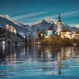 by Mario Horvat - Buildings & Architecture Public & Historical ( water, reflection, winter, church, waterscape, bled, castle, lake, landscape )