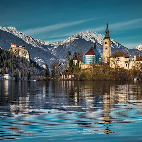 by Mario Horvat - Buildings & Architecture Public & Historical ( water, reflection, winter, church, waterscape, bled, castle, lake, landscape,  )