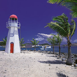 Hamilton Island mock Lighthouse by Annette Flottwell - Landscapes Beaches ( water, queensland, landing, airplane, lighthouse, 6x7, pentax 67, palms )