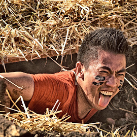 Horrible Inside ! by Marco Bertamé - Sports & Fitness Other Sports ( amnéville, tongue, straw, grimace, the mud day, alone, teeth, horror, man, tunnel )
