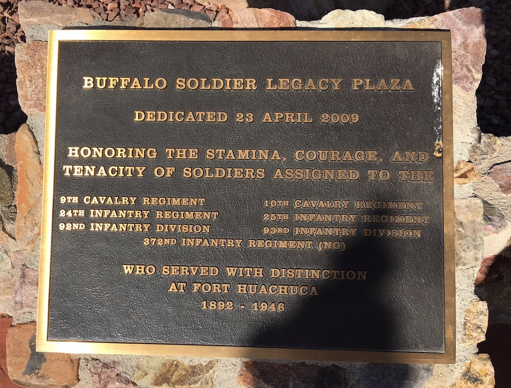 BUFFALO SOLDIER LEGACY PLAZA DEDICATED 23 APRIL 2009  HONORING THE STAMINA, COURAGE, AND TENACITY OF SOLDIERS ASSIGNED TO THE  9TH CAVALRY REGIMENT  24TH INFANTRY REGIMENT 22ND INFANTRY DIVISION 10TH ...