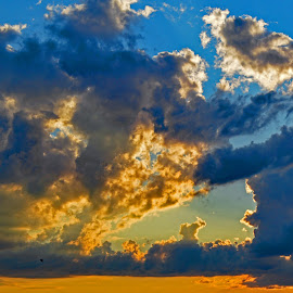 Clouds at Sunset by Robert Ratcliffe - Landscapes Cloud Formations ( clouds, nature, sunset, dramatic, beauty in nature, evening )