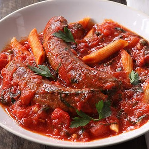 Greek Sausages In Tomato And Caper Stew