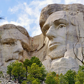 Faces in Stone by Jim Czech - Landscapes Travel ( black hills, presidents, mountain, cliff, statues, carving )