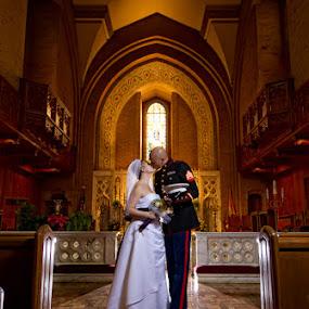 by Torey Searcy - Wedding Bride & Groom ( love, kiss, kissing, married, wife, wedding, newlywed, couple, bride, marriage, husband, groom )