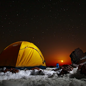 5+ Star Hotel Tent Camp by Ryan J. Rowe - Landscapes Mountains & Hills ( water, moon, mountain, cliff, rock, bottle, clear, adams, climbing, sky, nalgene, mount, cold, camping, stars, magical, snow, tent, night, sierra designs, rocks )