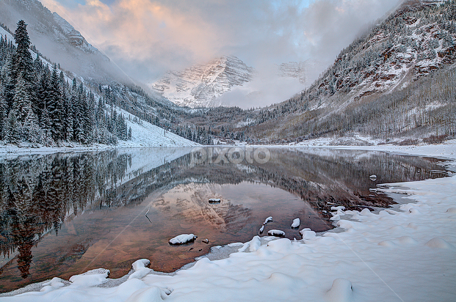 Maroon Bells, Snow by Tom Cuccio - Landscapes Mountains & Hills ( winter, snow, colorado, landscape, maroon bells, aspen )