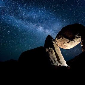 Balanced Rock by Jim O'Neill - Landscapes Starscapes ( led lighting, big bend, nightsky, nighscapes, milky way )