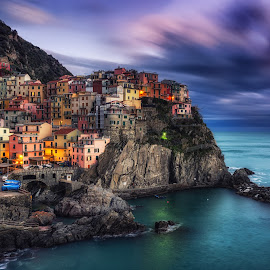 Manarola Magic by Aaron Choi - City,  Street & Park  Historic Districts ( home, cinque terre, europe, italian, colorful, ocean, tourism, house, travel, coastal, photo, coast, photography, european, village, nature, color, liguria, sunset, villas, night, town, manarola, la spezia, italy )