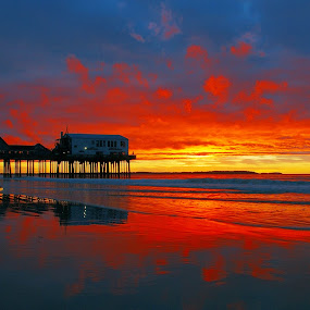 Burning Sky by Luc Belisle - Landscapes Waterscapes ( red, beach, sunrise, burning )