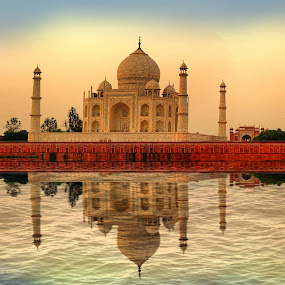 Incredible TAJ by Chandradwip Debnath - Buildings & Architecture Places of Worship ( water, sunset, taj mahal, india,  )