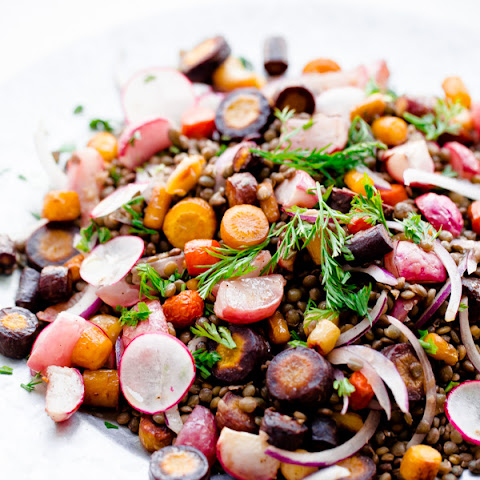 Roasted Carrot Lentil Salad with Radishes and Tahini Dressing