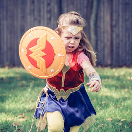 by Michael Last - Babies & Children Children Candids ( child, outdoors, costume, wonder woman, portrait, halloween )