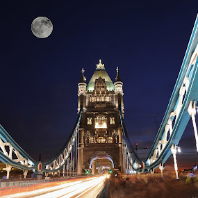 Tower Bridge in Full Moon by Vineet Johri - Travel Locations Landmarks ( tower, pwclandmarks, night, full moon, bridge, landmark, travel,  )