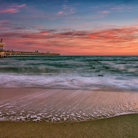 New Day on the Bay by James Gramm - Buildings & Architecture Bridges & Suspended Structures ( sea scape, water, sky colors, pier, ocean, long exposure, beach, sunrise )