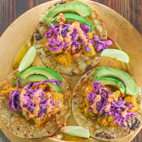 Crispy Coconut-Pumpkin Cauliflower Tacos with Creamy Cabbage Slaw
