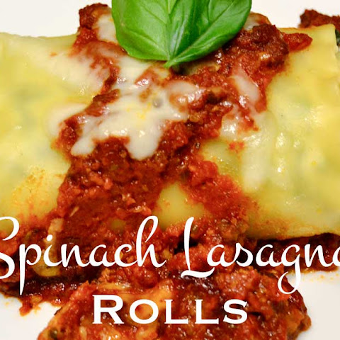 Spinach Lasagna Rolls with Meaty Tomato Sauce