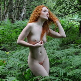 Spirit of Fern by DJ Cockburn - Nudes & Boudoir Artistic Nude ( natural light, nature, woman, redhead, forest, ivory flame, portrait )