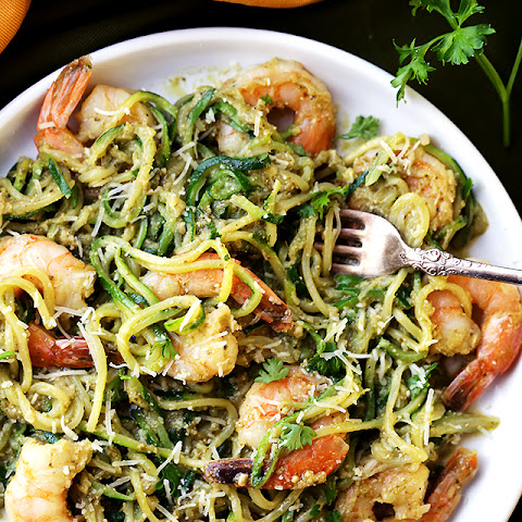 Pesto Zucchini Noodles and Shrimp