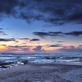 The end of the day by Deon Warrington - Landscapes Sunsets & Sunrises ( western cape, sunset, winter, clouds, sun, sea )