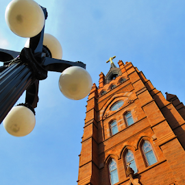 Towering by Hal Gonzales - City,  Street & Park  Historic Districts ( lights, charleston, cathedral, religious, cross,  )
