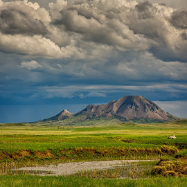 Bear Butte Storm Clouds by Kendra Perry Koski - Landscapes Mountains & Hills ( pennington county, green, storm, may, bear butte, monument, thunder, clouds, water, thunderclouds, meade county, spring, dakota winds photography, 2018, creek, blue, grass, sturgis, south dakota, black hills, thunderstorm, landmark, us, park )