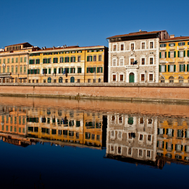 Lungarno Pisa (Italy) by Gianluca Presto - Buildings & Architecture Homes ( old house, home, water reflection, reflection, old, tuscany, old town, cityscape, house, architecture, historic, city, mirror, ancient, buildings, pisa, homes, italy, water, building, houses, architectural detail, historical, arno, river,  )