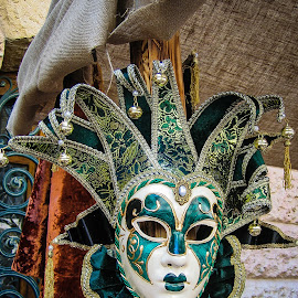 Monaco Mask by Simon Shee - Artistic Objects Clothing & Accessories ( carnival, green, bells, white, mask, monaco,  )
